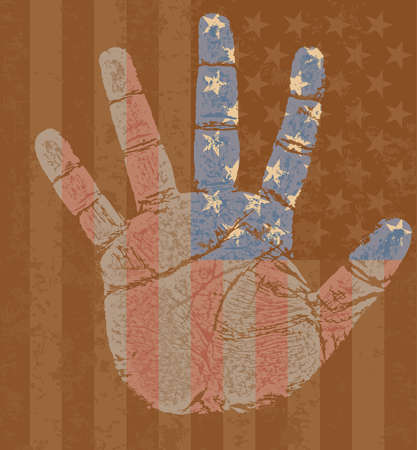 furrow: High detailed USA flag on my right hand in grunge style