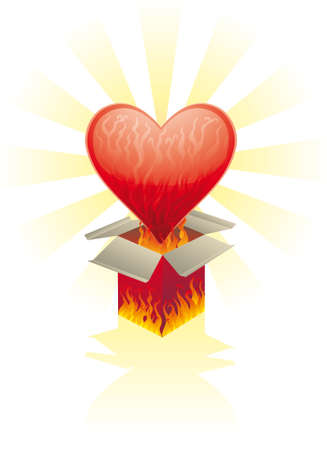 Burning heart came out from a burning box