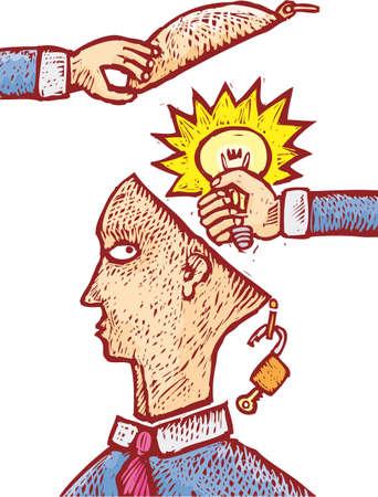 Two hands grabbing an idea from an human head.