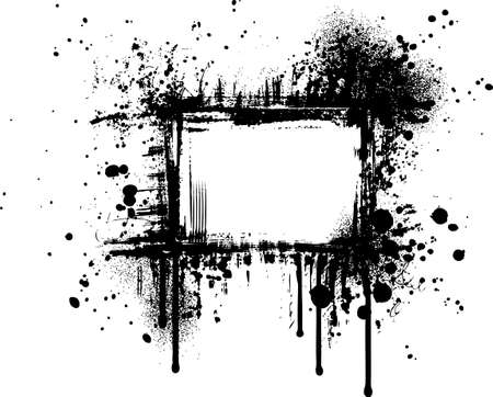 Grunge graphic frame with splatters, drops and stains Illustration