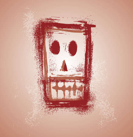 Grunge skull face in separate layers Vector