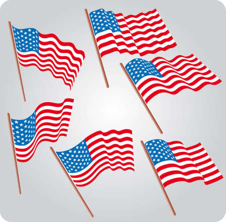 Set of six USA flags in various poses Illustration