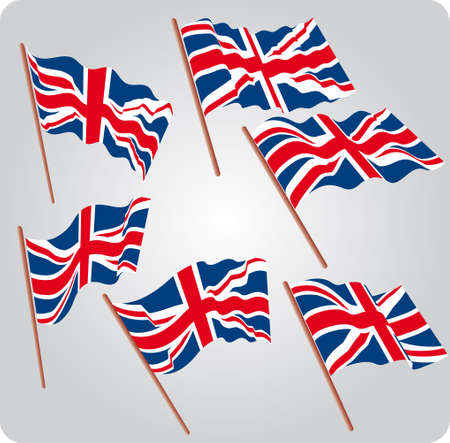 Set of six UK flags in various poses Illustration