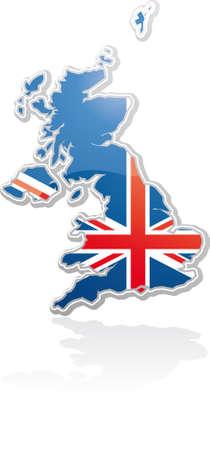 bandera reino unido: Reino Unido mapa con pabell�n del Reino Unido dentro de un cartel en forma