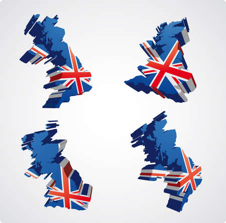uk map: Four perspective  views in3D style of the uk map