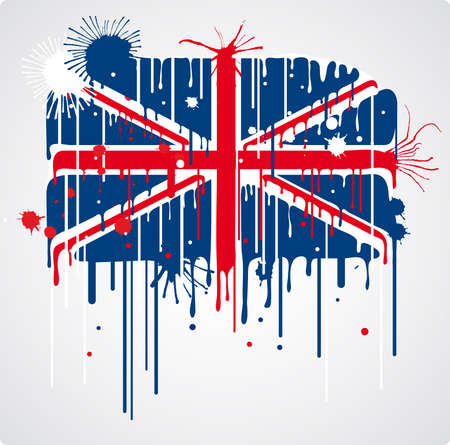 contrasts: Melting and splatter union jack flag with drops and stains Illustration