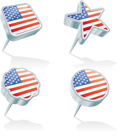 Four metal 3D pins in various shapes with the USA flag Illustration