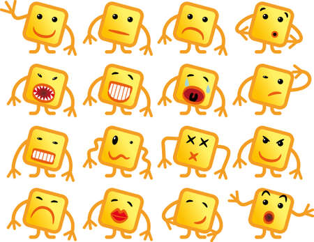 Set of 16 squares emoticons with arms and legs