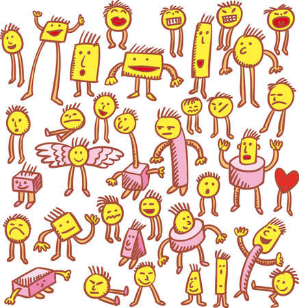 Various characters hand drawn in emoticons style. Illustration