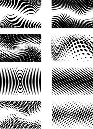 distort: Eight detailed retraced background in halftone graphic style