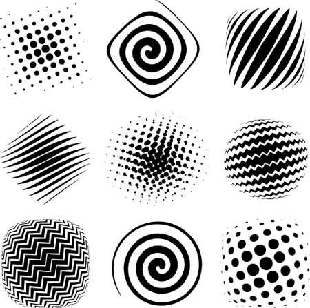 spiral: Negen halftoonraster grafische elementen klaar voor ontwerp studie.