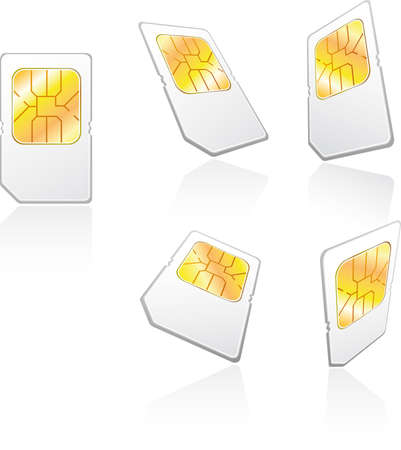 Five views of a cellphone sim card Stock Vector - 3504896