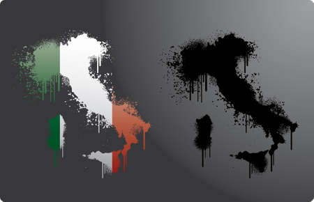 italian flag: Two taly maps within and without italian flag in splatter.