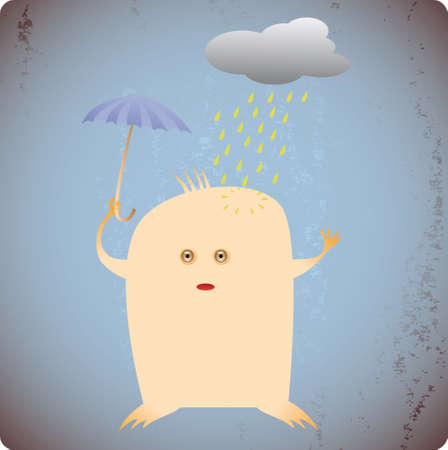 Alarmed personage with his umbrella under the rain Stock Vector - 3513066