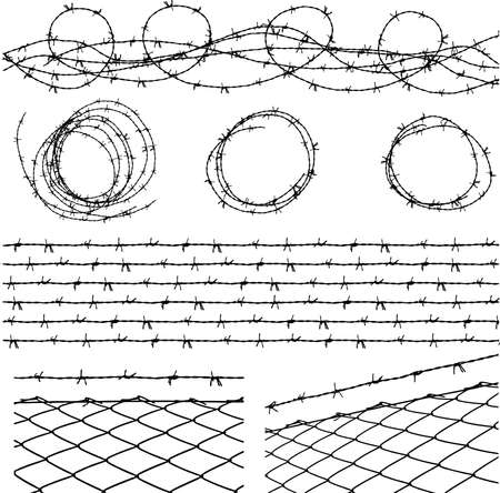 Some barbed wire elements with a barbed wire seamless module