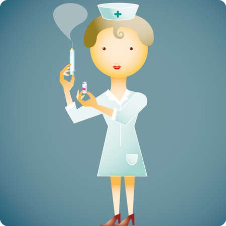 Nurse with a syringe and a little medicine bottle in her hands Vector