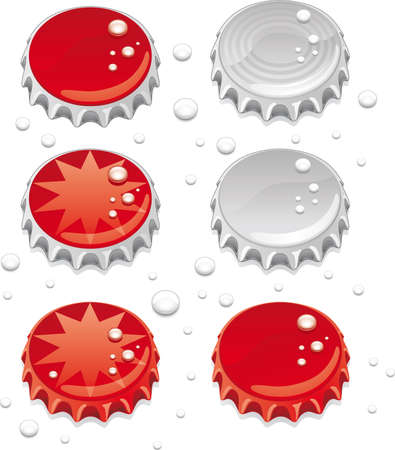 Six bottle caps with some graphics and  drops.