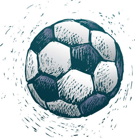 rude: Rude soccer ball in engrave style Illustration