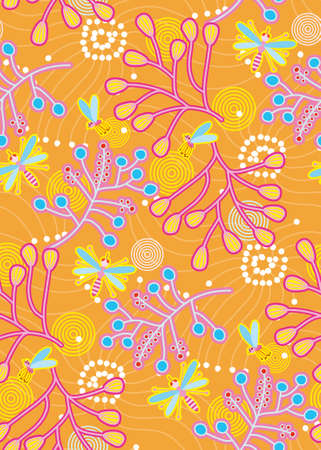 mosquitos: Mosquitos and plant branches seamless pattern