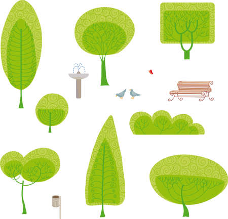 Made your own park design with a set of park furniture Illustration