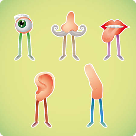 eye vector: Five human senses in humanized styles Illustration