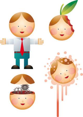 alternate: Little office man with three alternate heads