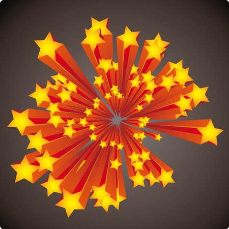 explosie: Grafische sterren explosie met strepen op een donkere achtergrond
