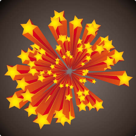 ornaments vector: Graphic stars explosion with stripes on a dark background Illustration