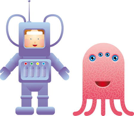 Childlike spaceman with a friendly alien Vector