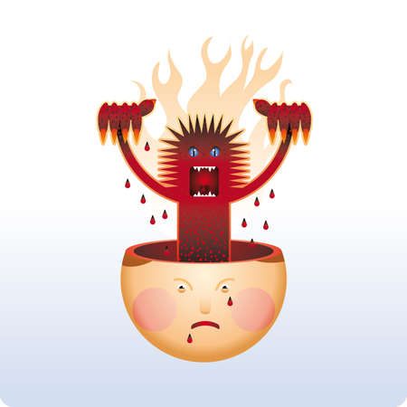 feeling bad: Angry monster lifts from an human head. Bad feeling. Illustration