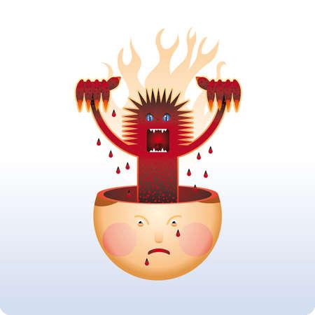 Angry mostro ascensori da una testa umana. Bad sensazione.  Vettoriali
