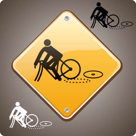 Bike incident warning road sign Vector