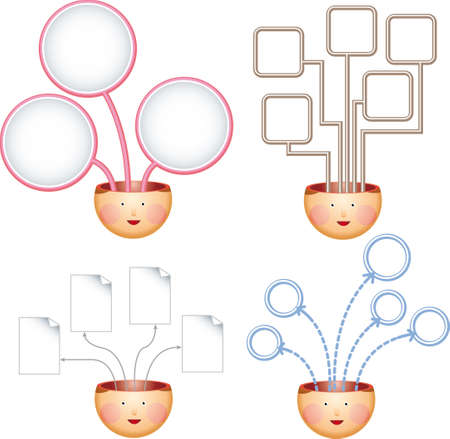 Four chart explaining concept and ideas from human heads Vector