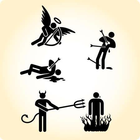amor: Cupid Engel und Teufel einfach bei der Arbeit.