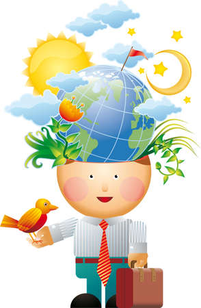 ecologic: Little office man with many ecologic thoughts in his mind