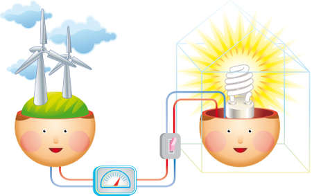 power generation: Electric power generation from the wind. An energy concept.