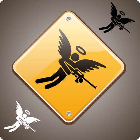 Armed angel warning road sign. A love hurts or a religion power concept Иллюстрация