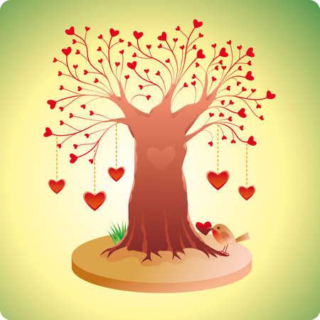 Old love tree with hanging hearts, hearts instead of leaves and a robin.