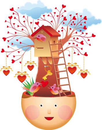 house keys:  love concept. A lovely tree house, a bird .