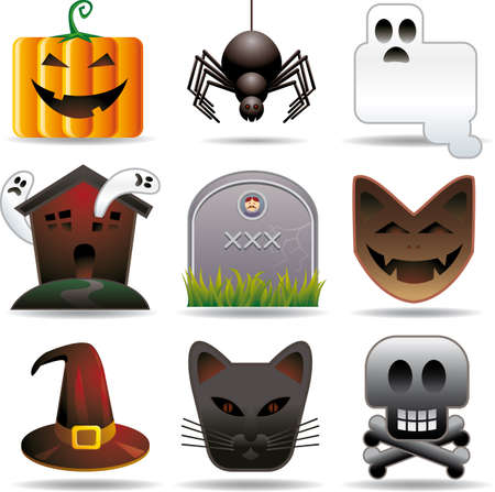 aspect: Nine halloween related objects in stylish aspect. All in separated layers