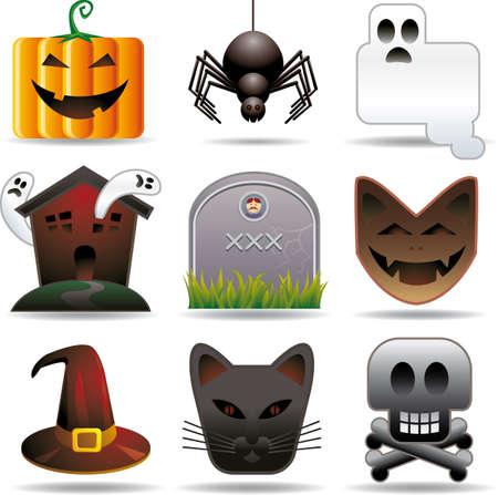 all in: Nueve halloween en objetos relacionados con aspecto elegante. Separados en todas las capas