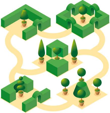 cultivated: Four classical square garden designs with cultivated cypresses and bushes in isometric view