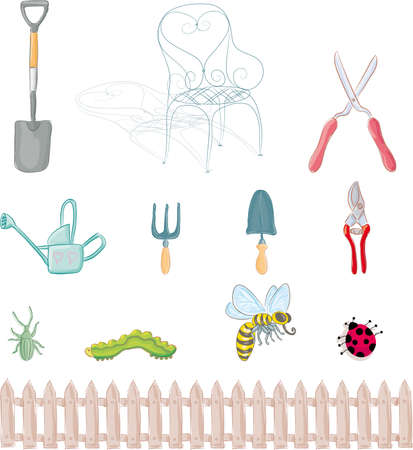 stockade: Complete set of gardening objects and insects.