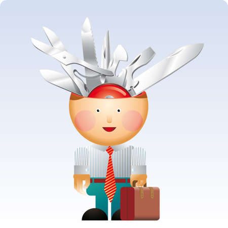 multifunction: Little office man with a lot of multifunction knife in his head.  Illustration