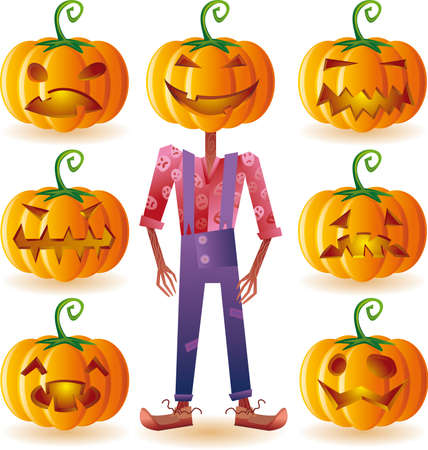 scaring: Classic halloween pumpkins set plus one scary scarecrow.