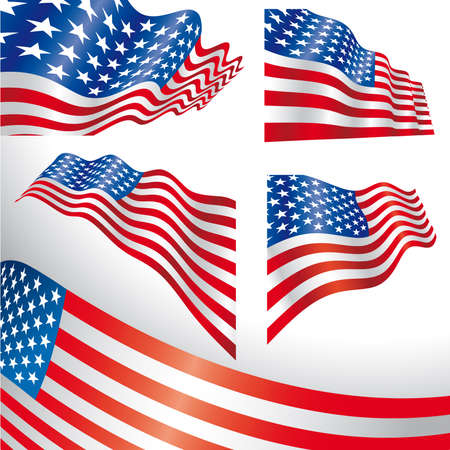 Set of classics USA flags distorted by the wind. Illustration