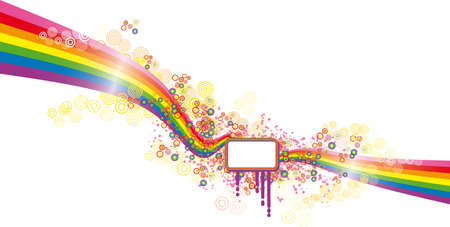 Graphic spring banner over a moved rainbow composition Vector