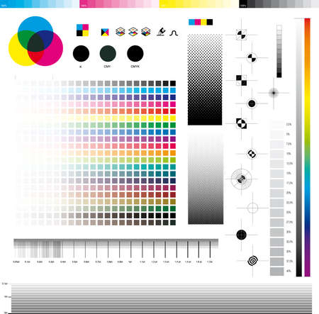 Complete set of cmyk graphic symbol utilities; good for printing tests.