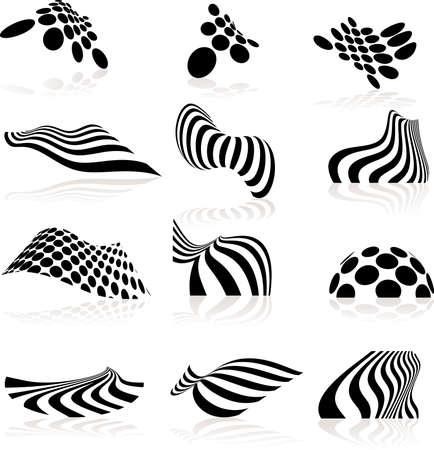 Twelve highly distorted design elements. Illustration