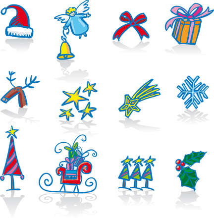 Twelve traditional Christmas symbols. Vector